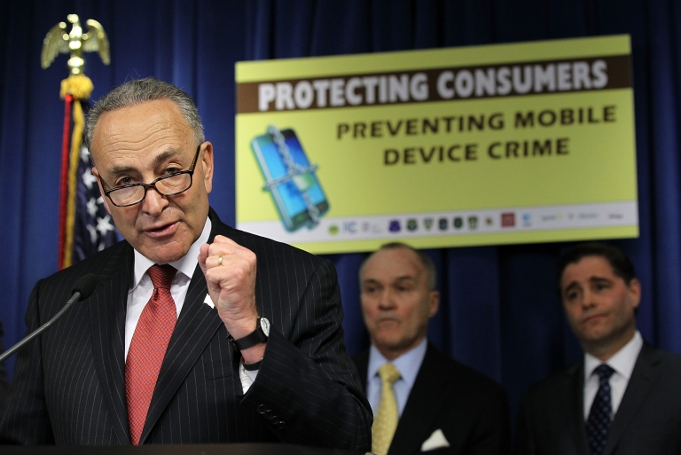 <p>US Senator Charles Schumer speaks during a news conference to announce 'a major wireless industry agreement to combat cell phone theft and related crimes' April 10, 2012 in Washington, DC.</p>