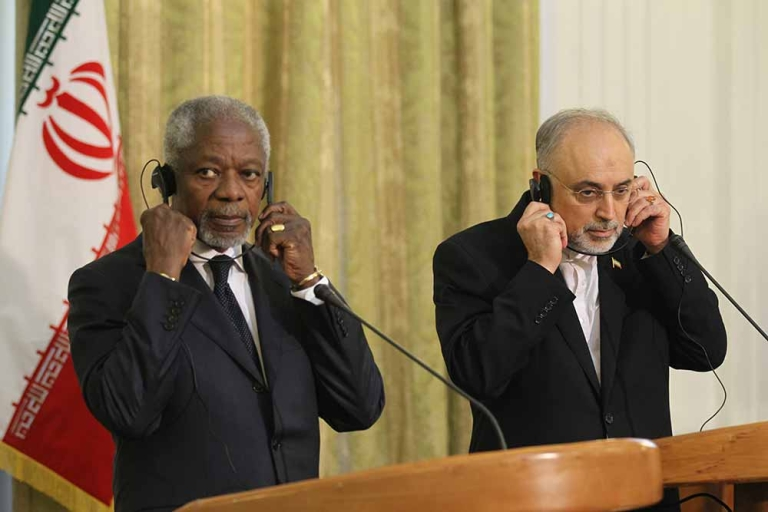 <p>United Nations and Arab League envoy for the crisis in Syria, Kofi Annan (L) and Iranian Minister for Foreign Affairs Ali Akbar Salehi (R) listen through their headsets during a joint press conference in Tehran on April 11, 2012. Annan said the situation in Syria should be 'much improved' by an April 13 deadline if both sides in the conflict respect a peace plan he drew up.</p>