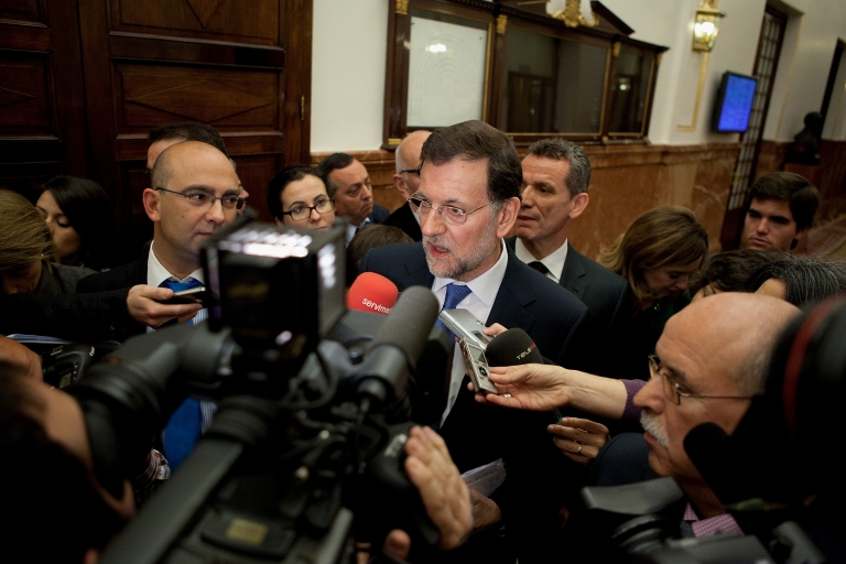 <p>Spanish Prime Minister Mariano Rajoy speaks to press after a control session at Madrid's Parliament on April 11, 2012 in Madrid, Spain. Spain appears to be going into a deeper recession, despite the severe austerity measures the Spanish Government is making to avoid bailout.</p>