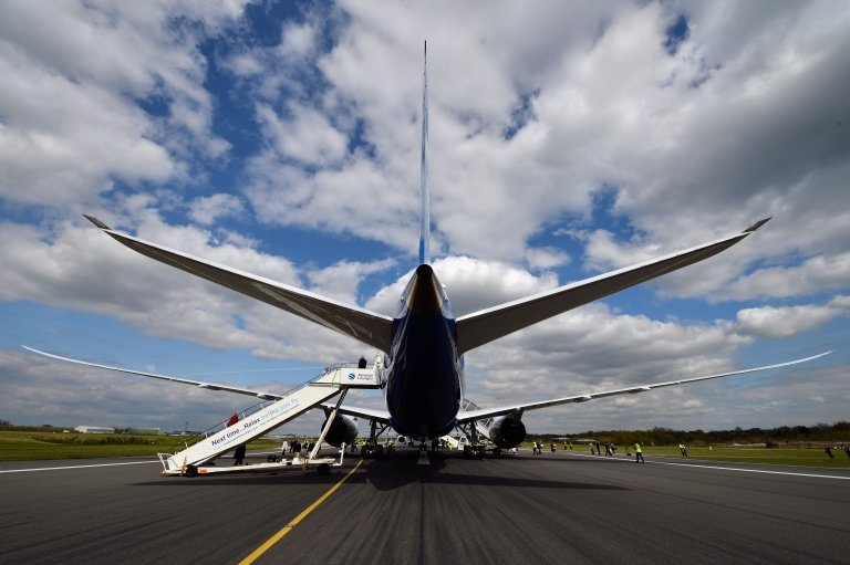 <p>The new Boeing Dreamliner 787 sits on the tarmac at Manchester Airport during it's tour of the world  on April 24, 2012 in Manchester, England.</p>