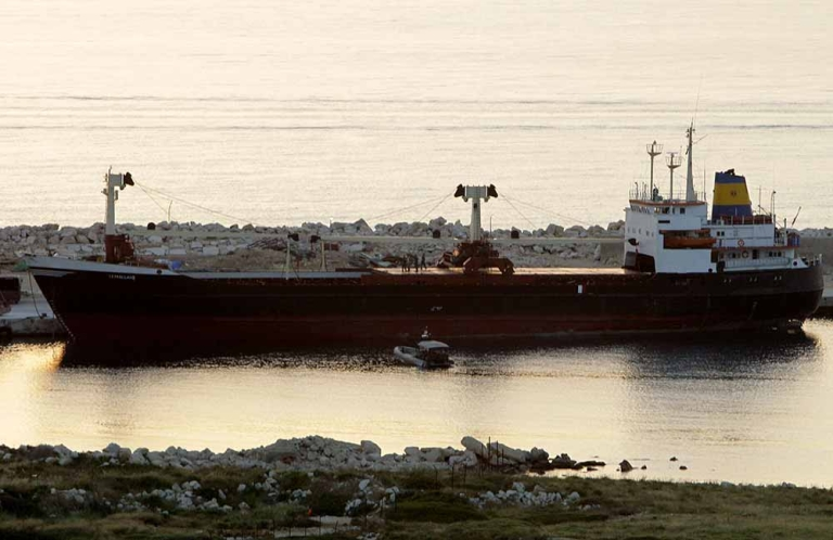 <p>The vessel 'Lutfallah II' docks at the port of Selaata, north of Beirut, on April 27, 2012 after it was intercepted by the Lebanese navy for being suspected of carrying weapons destined for Syria's rebel army, a security official said.</p>