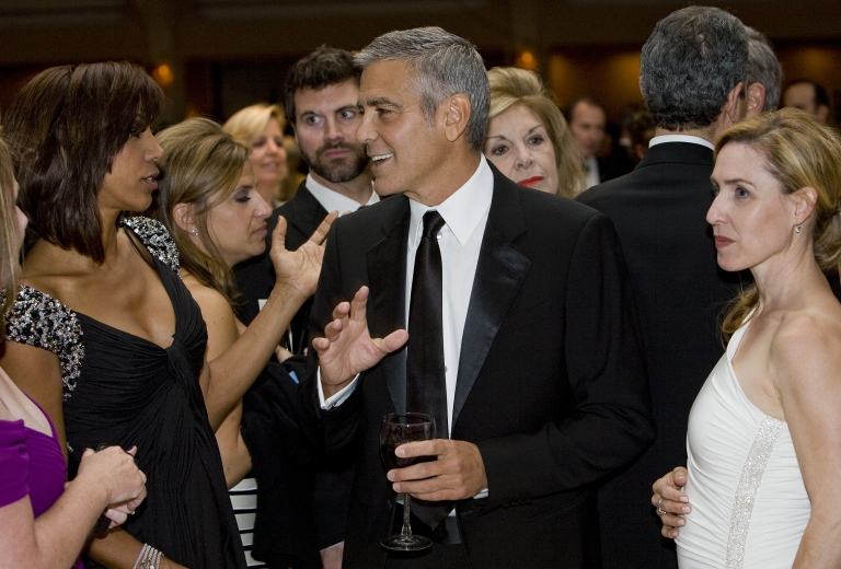 <p>George Clooney at the 2012 White House Correspondents' Association Dinner, held in DC days befoe his owne fudraiser for Obama in Hollywood.</p>