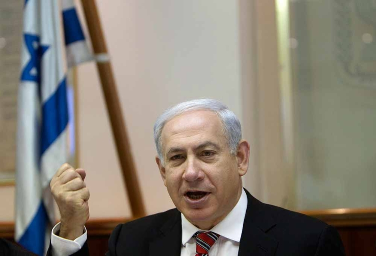 <p>Israeli Prime Minister Benjamin Netanyahu speaks during the weekly cabinet meeting in Jerusalem on April 29, 2012. Israel was buzzing with the possibility of an early election after a key partner in the ruling right-wing coalition threatened to pull out, and the opposition called for an autumn vote.</p>