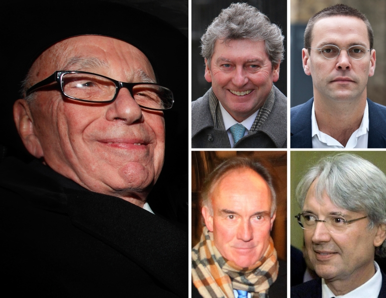 <p>News Corp Chief Rupert Murdoch (L) pictured in central London on April 25, 2012; former News of the World newspaper editor Colin Myler (C top); former News of the World legal manager Tom Crone (C bottom); former News International chairman and chief executive James Murdoch (R top); former News International executive chairman Les Hinton (R bottom).</p>