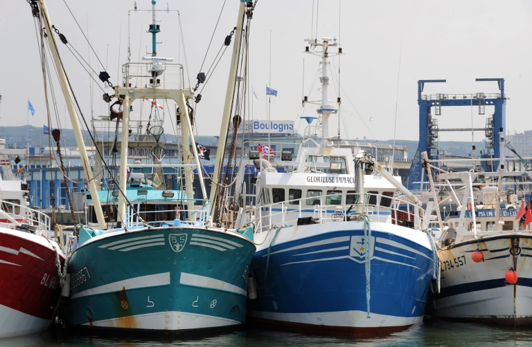 <p>French fishing boats berthed at the port of Boulogne-sur-mer, northern France, on May 21, 2008.</p>