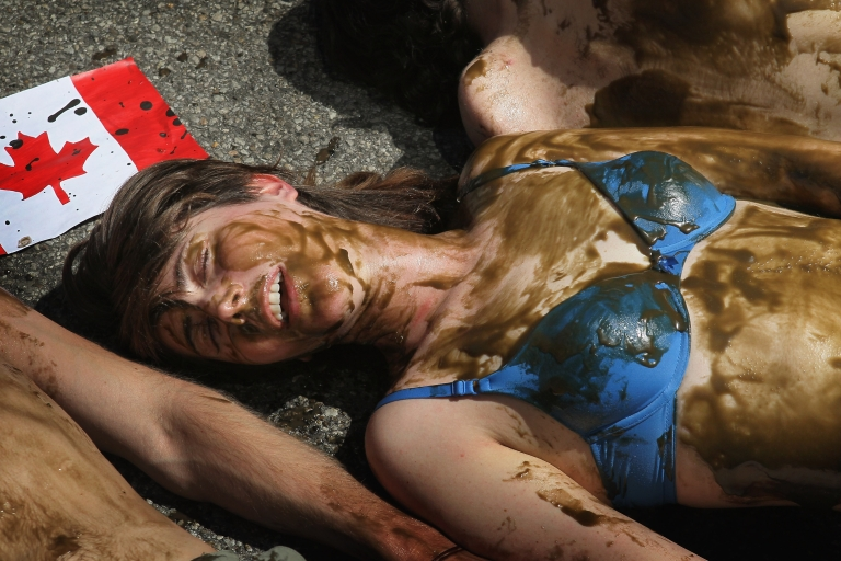 <p>Demonstrators lie in the street covered with an oily substance in front of the Canadian Consulate during a protest against the use of tar sands May 17, 2012 in Chicago, Illinois.</p>