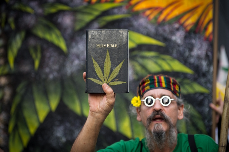 <p>A man holds a Bible with leaves pasted on the cover simulating a marijuana plant during a demo for its legalization in Sao Paulo, Brazil, on May 19, 2012.</p>