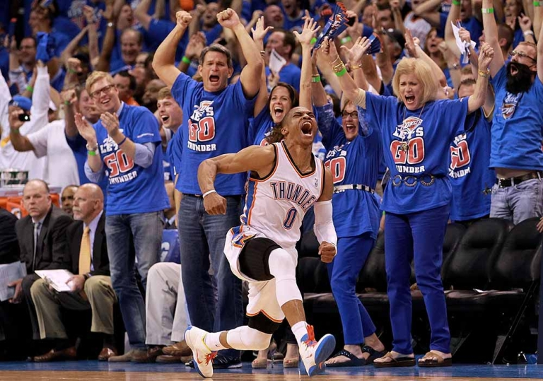 <p>Russell Westbrook #0 of the Oklahoma City Thunder reacts after scoring while fouled against the Los Angeles Lakers during Game Five of the Western Conference Semifinals of the 2012 NBA Playoffs at Chesapeake Energy Arena on May 21, 2012 in Oklahoma City, Oklahoma.</p>