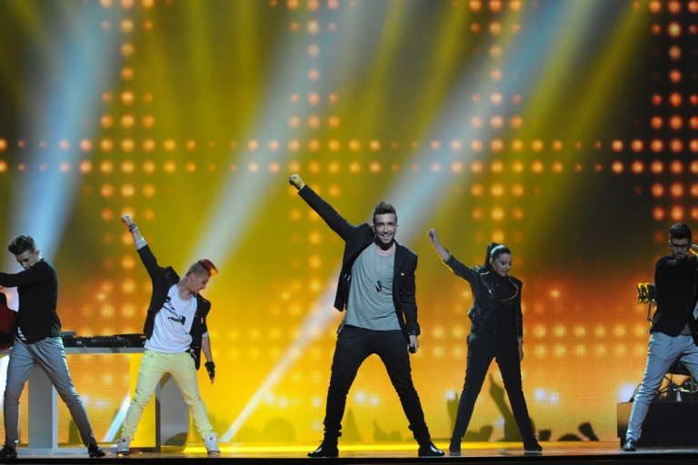 <p>Malta's Kurt Calleja performs during a dress rehearsal for the Second Semi-Final of the Eurovision 2012 song contest in the Azerbaijan's capital Baku, on May 23, 2012.</p>