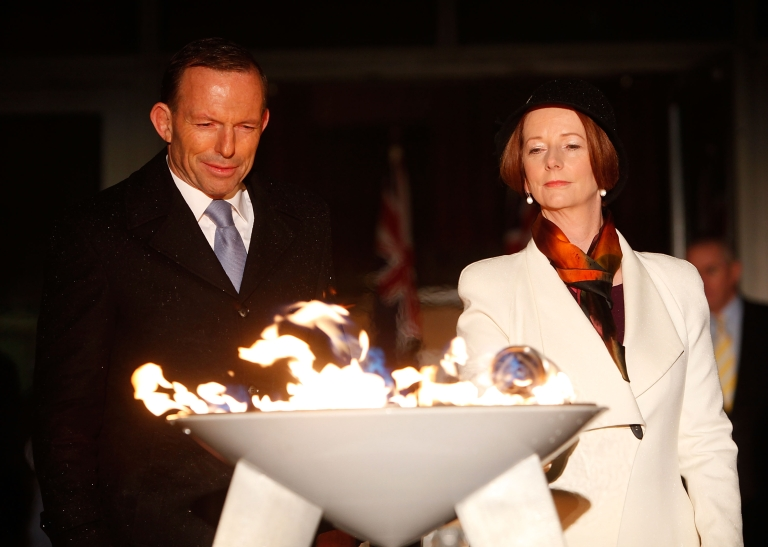 <p>The Prime Minister of Australia, Julia Gillard and the Opposition Leader, Tony Abbott jointly light a ceremonial beacon to mark the Queens Diamond Jubilee at Parliament House on June 4, 2012 in Canberra, Australia.</p>