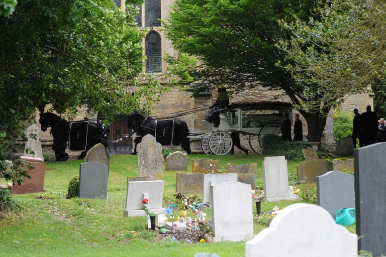 <p>General view of Robin Gibb's Horse Drawn Glass Carriage at St Mary's Church, in Priest End, Thame on June 8, 2012 in Oxford, England.</p>