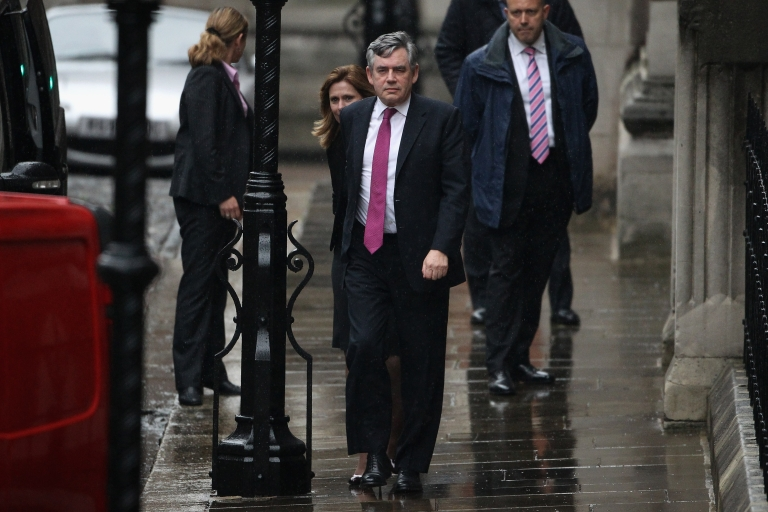<p>Former Prime Minister Gordon Brown and Sarah Brown attend The Leveson Inquiry on June 11, 2012 in London, England.</p>