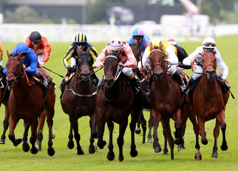 <p>Luke Nolen riding Black Caviar (Salmon color, black spots) win The Diamond Jubilee Stakes during day five of Royal Ascot at Ascot racecourse on June 23, 2012 in Ascot, England</p>