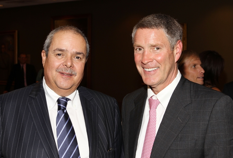 <p>Gabriel Jaramillo (L), general manager of Global Fund, and Senator Bill Frist, M.D., founder of Help Through Healing Hands, pose for a photo on July 23, 2012 in Washington, DC.</p>