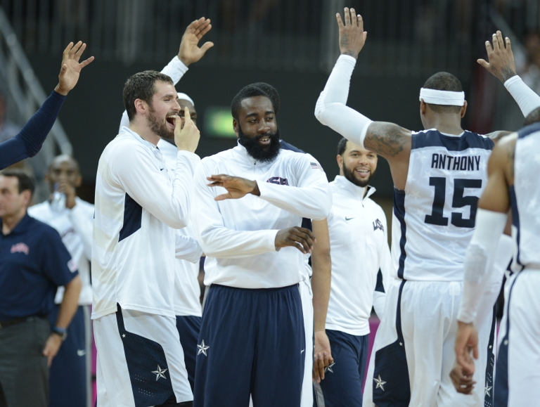 <p>Team USA celebrating another basketball victory.</p>