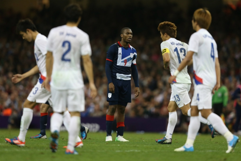 <p>Daniel Sturridge reacts after missing a penalty kick at the Men's Football Quarter Final match between  Great Britain and Korea, on Day 8 of the London 2012 Olympic Games at Millennium Stadium on August 4, 2012 in Cardiff, Wales.</p>