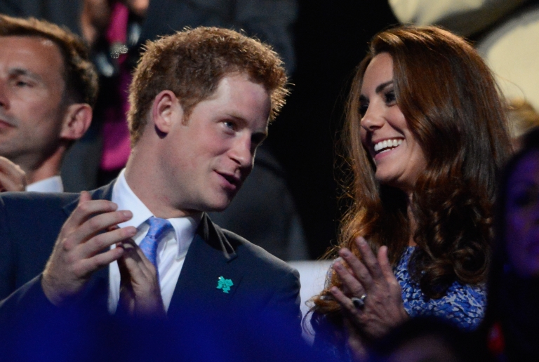 <p>Prince Harry and Kate Middleton (a.k.a. Catherine, Duchess of Cambridge) applaud in the stands of the Olympic stadium during the closing ceremony of the 2012 London Olympic Games in London on August 12, 2012.</p>