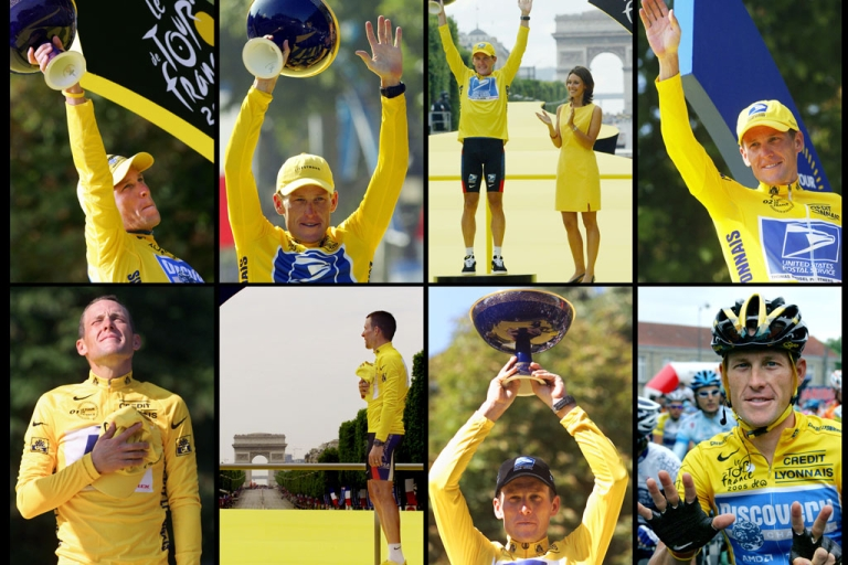 <p>From top left, Lance Armstrong celebrates his Tour de France titles in 2005, 2004, 2003, 2002, 2001, 2000 and 1999 on the podium on the Champs-Elysees in Paris.</p>
