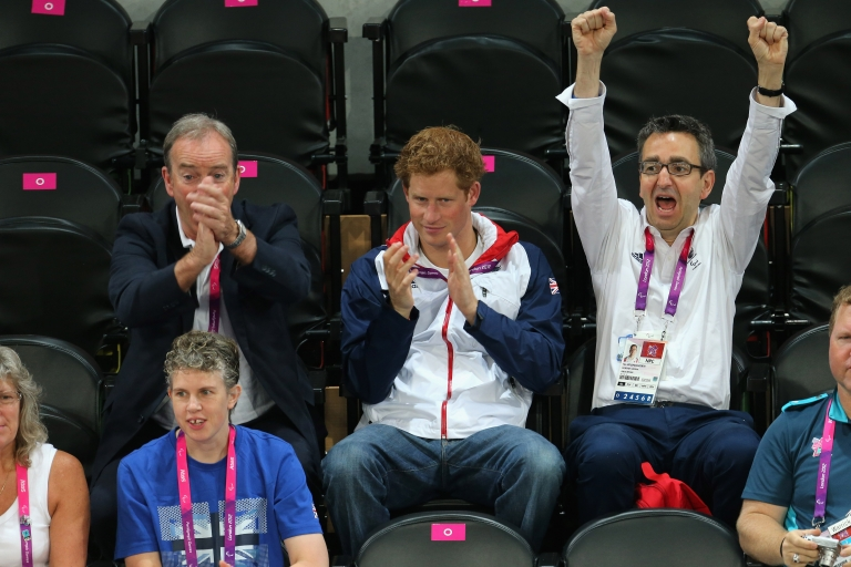 <p>Prince Harry and British Paralympic Association chief executive Tim Hollingsworth (R) attend the Goalball on day 6 of the London 2012 Paralympic Games at The Copper Box on September 4, 2012 in London, England.</p>