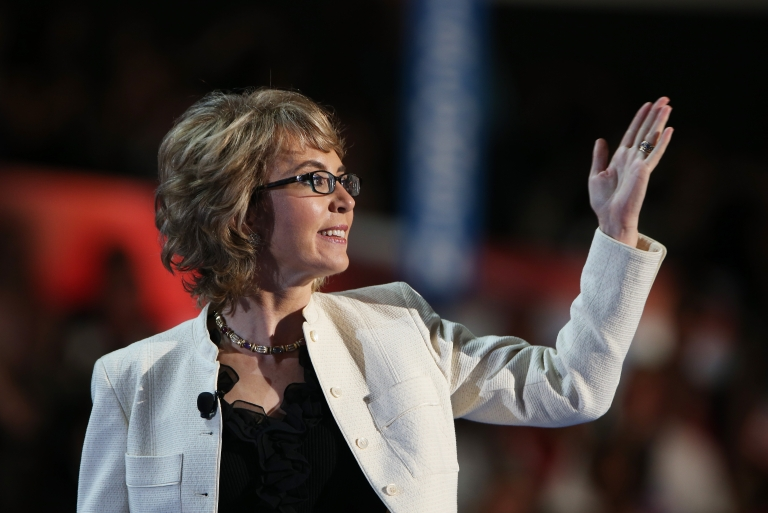 <p>Former U.S. Rep. Gabrielle Giffords (D-NV) walks on stage during the final day of the Democratic National Convention at Time Warner Cable Arena on September 6, 2012 in Charlotte, North Carolina.</p>