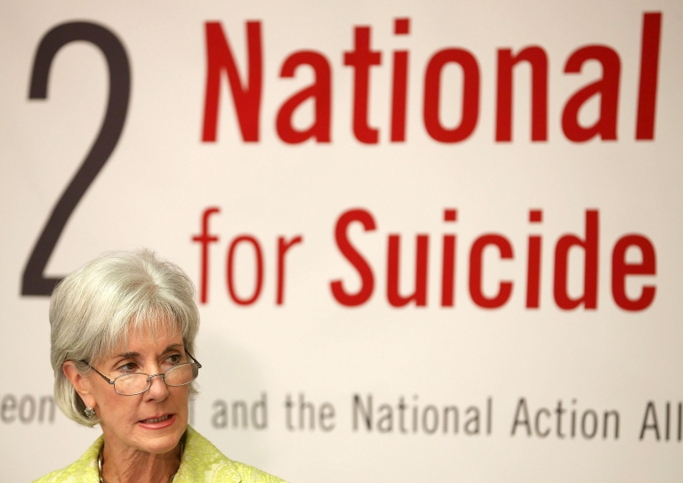 <p>Kathleen Sebelius, Secretary, US Department of Health and Human Services, speaks during a National Strategy For Suicide Prevention event at the National Press Club, on September 10, 2012 in Washington, DC. Over 30,000 americans commit suicide each year, and it has become the country's leading cause of death.</p>