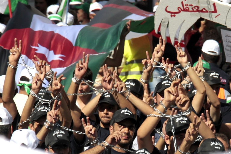 <p>Jordanians took to the streets of Amman Friday after parliament was dissolved.</p>