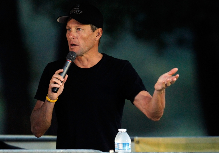 <p>Who, me? Lance Armstrong addresses participants at The Livestrong Challenge Ride at the Palmer Events Center on October 21, 2012 in Austin, Texas.</p>
