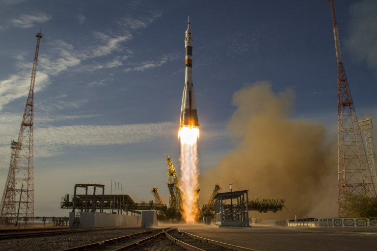 <p>A Russian spacecraft carrying three astronauts and 32 fish bound for the International Space Station launched today.</p>