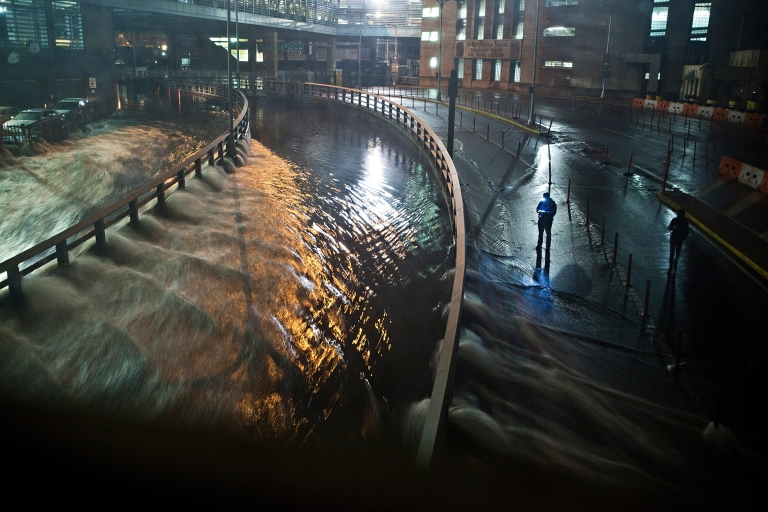 <p>NEW YORK, NY - OCTOBER 29: Water rushes into the Carey Tunnel (previously the Brooklyn Battery Tunnel), caused by Hurricane Sandy, October 29, 2012, in the Financial District of New York, United States. Hurricane Sandy, which threatens 50 million people in the eastern third of the US, is expected to bring days of rain, high winds and possibly heavy snow.</p>