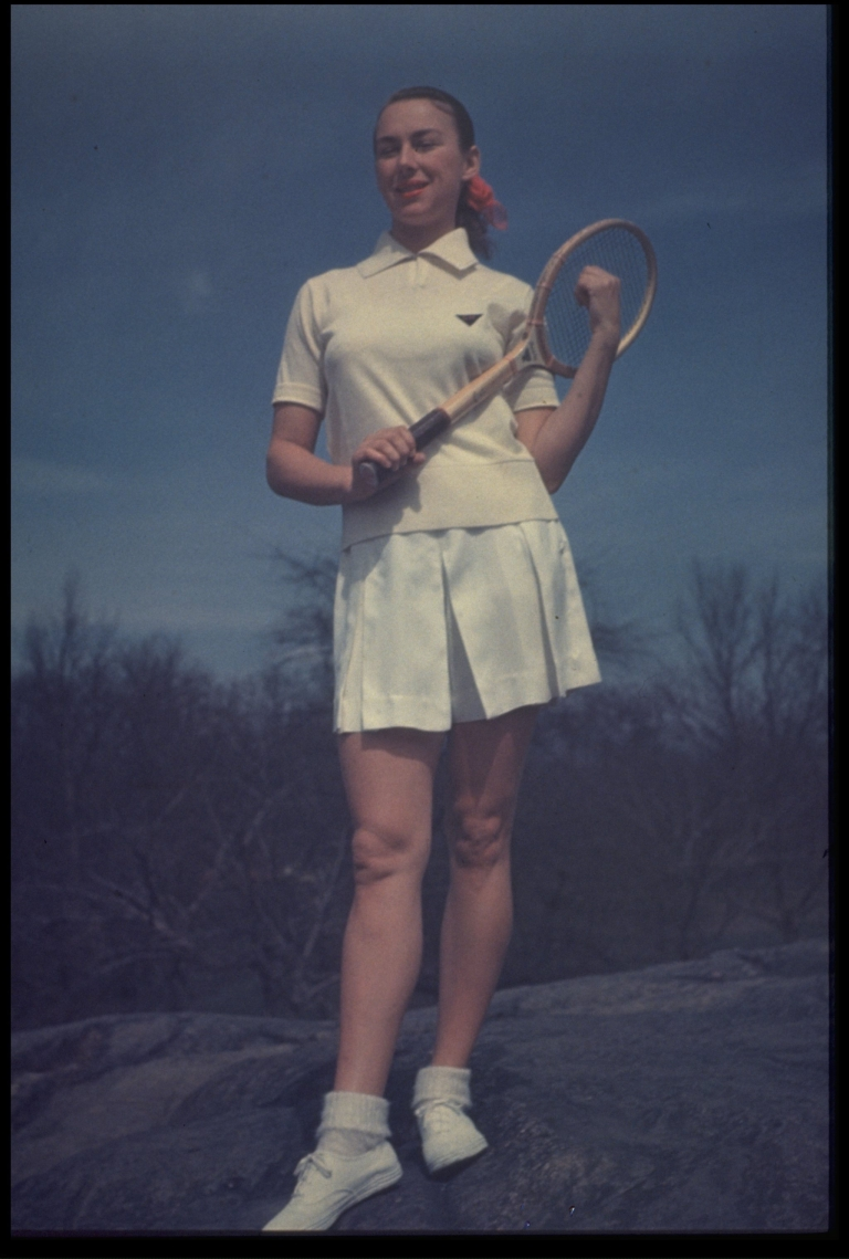 <p>A photo taken in 1950 shows 'Gorgeous' Gussy Moran Posing in her tennis outfit.</p>