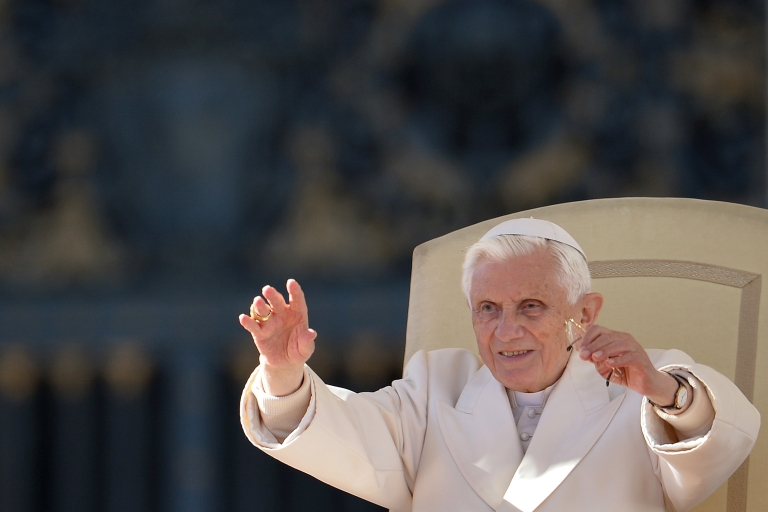 <p>Pope Benedict XVI, pictured during his weekly general audience on November 7, 2012 at St Peter's square at the Vatican, has begun tweeting from his new Twitter handle.</p>