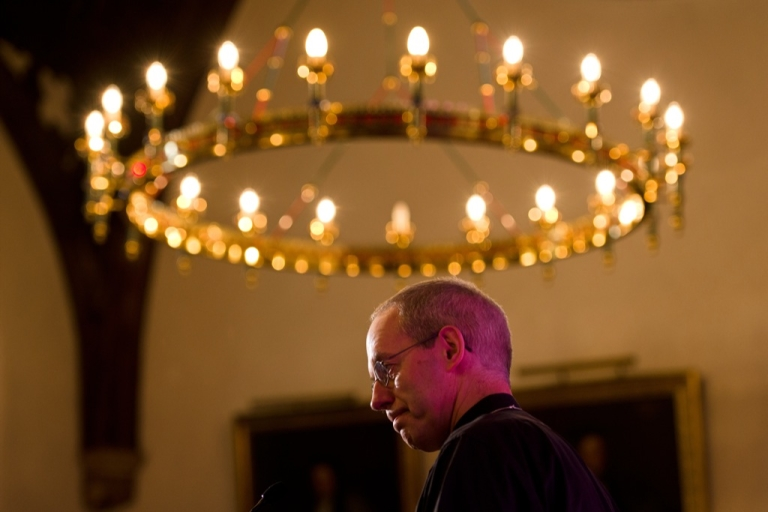 <p>The new Archbishop of Canterbury Justin Welby addresses a press conference in London, on November 9, 2012. Former oil executive Justin Welby was named Friday as the next Archbishop of Canterbury, the spiritual head of the world's Anglicans, in a move aimed at healing schisms over gay and female bishops.</p>