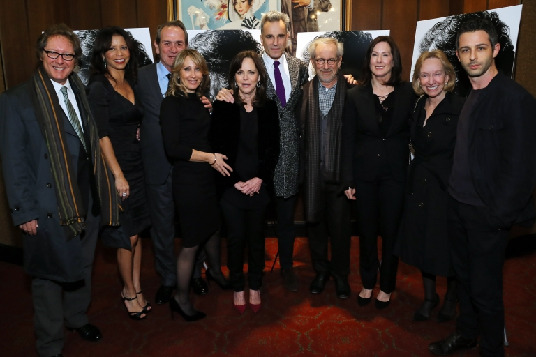 <p>Actors James Spader, Gloria Reuben, Tommy Lee Jones, DreamWorks Co-Chairman/CEO Stacey Snider, actors Sally Field, Daniel Day-Lewis, director Steven Spielberg, producer Kathleen Kennedy, historian Doris Kearns Goodwin and actor Jeremy Strong attend the special screening of Steven Spielberg's 'Lincoln' at the Ziegfeld Theatre on November 14, 2012 in New York City.</p>