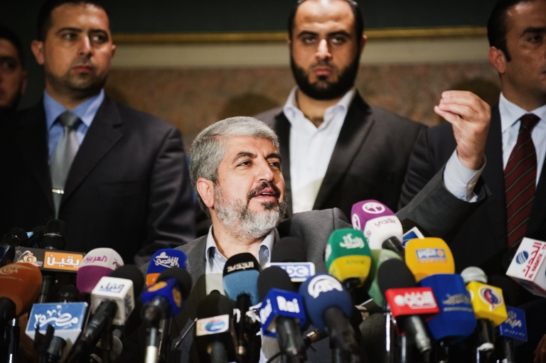 <p>Egypt's rise as peace-broker between Israel and Hamas not only stemmed from geography and its peace treaty with Israel but also its former desire to keep tabs on Hamas' connection with the Muslim Brotherhood in Egypt. Above, Hamas Leader Khaled Meshaal gives a press conference at the Journalist Syndicate building on November 19, 2012 in Cairo after truce talks.</p>