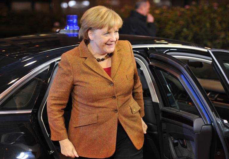 <p>German Chancellor Angela Merkel arrives at the EU Headquarters on November 22, 2012 in Brussels, to take part in a two-day European Union leaders summit called to agree a hotly-contested trillion-euro budget through 2020.</p>