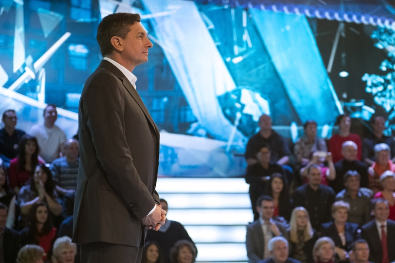 <p>Former Slovenian prime minister and presidential candidate Borut Pahor stands prior to the start of the televised debate in Ljubljana on November 29, 2012.</p>