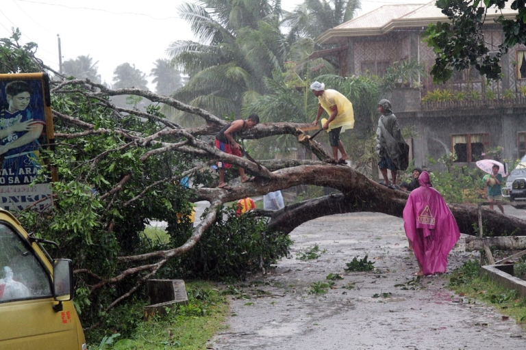 <p>Workers clear a road with a fallen tree after Typhoon Bopha hit the southern island of Mindanao on December 4, 2012. More than 40,000 people crammed into shelters to escape the onslaught of the strongest cyclone to hit the country this year.</p>