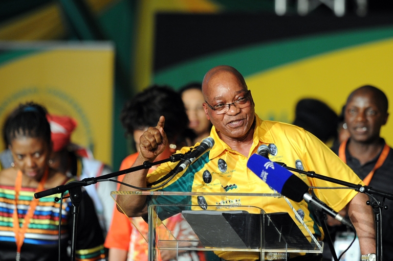<p>South African President Jacob Zuma sings and dances during the opening ceremony of the 53rd National Conference of the African National Congress (ANC) on December 16, 2012, in Bloemfontein. South Africa's ruling ANC kicked off what promises to be a contentious five-yearly party conference today, with embattled President Jacob Zuma facing a leadership challenge from his deputy president Kgalema Motlanthe.</p>