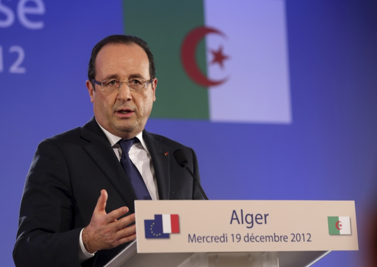 <p>French President Francois Hollande attends a press conference in Algiers on December 19, 2012 as part of the first day of his state visit to Algeria.</p>