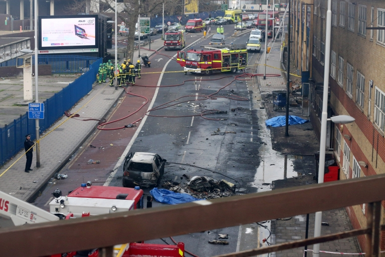 <p>Emergency services at the scene after a helicopter reportedly collided with a crane attached to St Georges Wharf Tower in Vauxhall, on January 16, 2013 in London, England.</p>