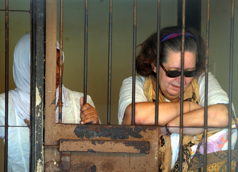 <p>Lindsay June Sandiford (R) of Britain reacts inside a holding cell after her trial at a court in Denpasar on the Indonesian resort island of Bali on Jan. 22, 2013. An Indonesian court on Jan. 22 sentenced 57-year-old Sandiford to death for smuggling cocaine into the resort island of Bali. She has lost her most recent appeal.</p>
