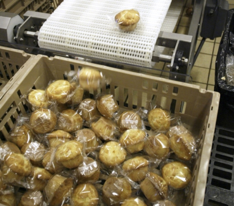 <p>AIRWAY HEIGHTS, WA - NOVEMBER 10:  Freshly baked muffins are run through a metal detector, before they leave the Airway Heights Corrections Center Food Factory, November 10, 2005 in Airway Heights, Washington.  Inmates produce frozen meals, baked goods, and tray lunches for more than 16,000 inmates incarcerated in the Washington State prison system, and meals for jails and senior food programs. The Airway Heights food factory is part of Correctional Industries and is one of 32 businesses the state operates behind prison walls to provide jobs for inmates. The facility is in it's tenth year of operations and provides up to 250 imates with work experience, job skills, and wages.<br /> (Photo by Jeff T. Green/Getty Images)</p>