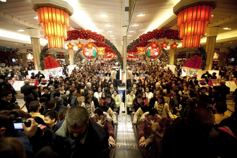 <p>Black Friday bargain hunters shop for discounted merchandise at Toys R' Us, which opened at 9PM Thanksgiving Day, November 24, 2011, in New York City.</p>
