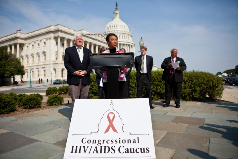<p>Rep. Barbara Lee (D-CA) (C) speaks at a news conference for the launch of the Congressional HIV/AIDS Caucus on Capitol Hill on September 15, 2011 in Washington, DC. The bi-partisan caucus has attracted approximately 50 members.</p>