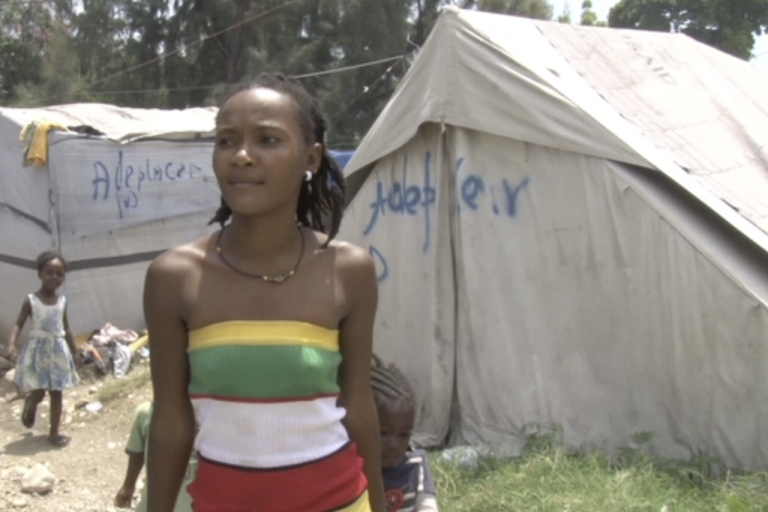 <p>Sophia Pierre has lived in a tent camp in Haiti since the 2010 earthquake. She now lives under the threat of eviction.</p>