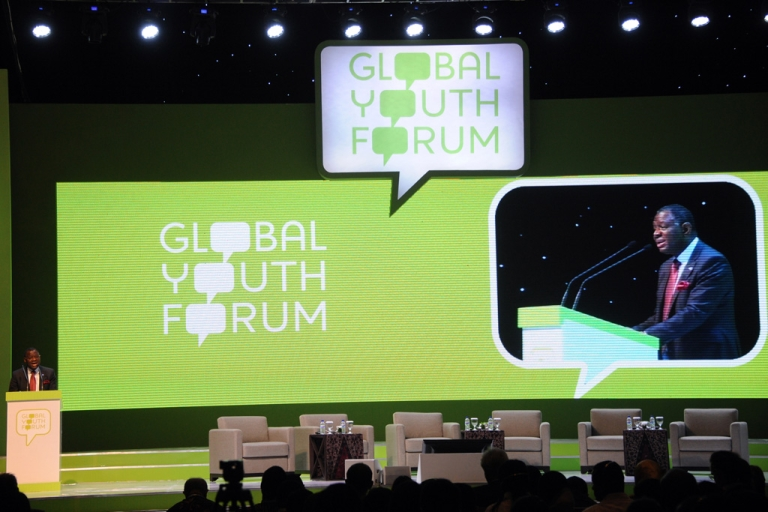 <p>Executive Director of UNFPA Babatunde Osotimehin delivers his speech during the Global Youth Forum in Nusa Dua on Bali island on December 4, 2012.  The ICPD Beyond 2014 Global Youth Forum is held from December 4-6.</p>