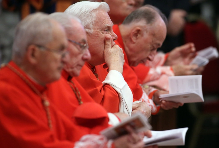 <p>Former archbishop of Boston Cardinal Bernard Law (C) attends a mass held by Pope Benedict XVI with newly appointed cardinals at the St. Peter's Basilica on November 25, 2012 in Vatican City, Vatican.</p>