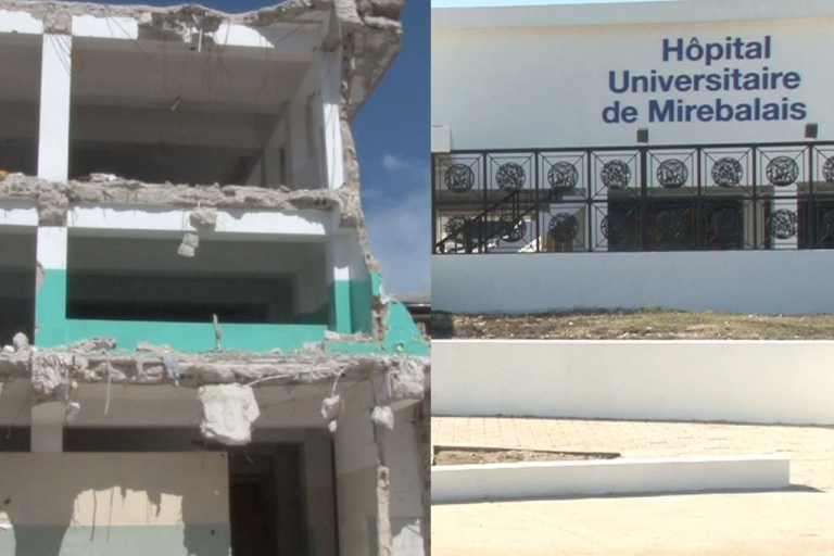 <p>The new hospital in Mirebalais sharply contrasts the Port-au-Prince General Hospital.</p>