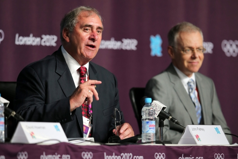 <p>President of the World Anti-Doping Agency John Fahey (L) speaks as President of FINA Rene Bouchard (R) watches on during a World Anti Doping Agency Briefing ahead of the 2012 London Olympic Games at the Main Press Centre on July 25, 2012 in London, England.</p>