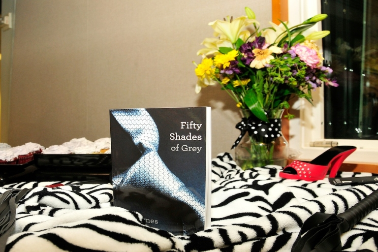 <p>A general view of the best-selling book 'Fifty Shades of Grey' at SiriusXM's 'Fishbowl studio' on May 11, 2012 in New York City.</p>